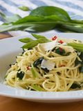 Spaghetti aglio olio peperoncino with wild garlic Stock Photo