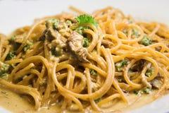 Spaghetti al funghi. Pasta with mushroom cream sauce stock photography