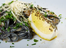 Spaghetti al Nero di Seppia Stock Photos