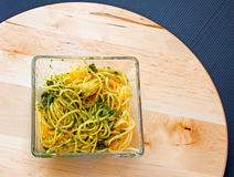 Spaghetti al pesto Stock Photos