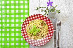 Spaghetti al Pesto Stock Photo