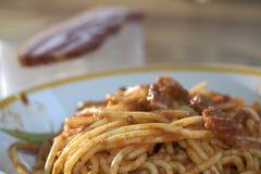 Spaghetti all'amatriciana Royalty Free Stock Photo