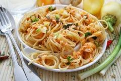 Spaghetti all arrabbiata Stock Images