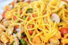 Spaghetti alla chitarra Abruzzo pasta closeup italian seafood.  Royalty Free Stock Images