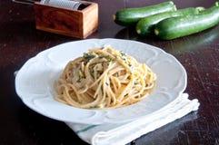 Spaghetti alla nerano, a typical recipe of the Amalfi Coast Royalty Free Stock Photos