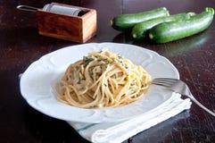 Spaghetti alla nerano, a typical recipe of the Amalfi Coast Stock Photo