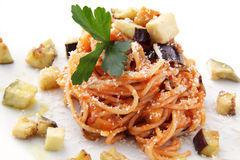 Spaghetti alla norma whit eggplant end tomato Stock Photo