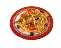 Spaghetti alla puttanesca obrazy stock