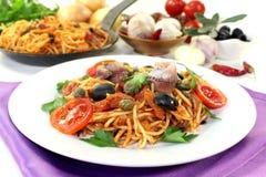 Spaghetti alla Puttanesca Stock Photography