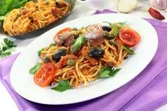 Spaghetti alla Puttanesca Stock Images