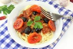 Spaghetti alla Puttanesca Stock Photos