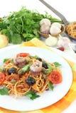 Spaghetti alla Puttanesca Royalty Free Stock Photos