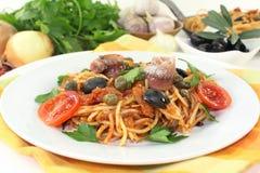 Spaghetti alla Puttanesca Stock Image