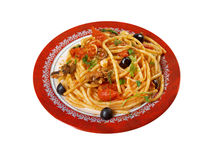 Spaghetti alla puttanesca. Salty Italian pasta dish.ingredients are typical of Southern Italian cuisine: tomatoes, olive oil, olives, capers and garlic stock images