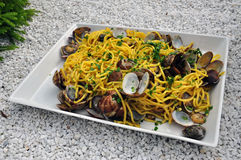 Spaghetti alle vongole, pasta with clams Stock Image