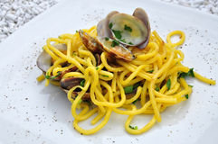Spaghetti alle vongole, pasta with clams Stock Photography