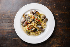 Spaghetti alle Vongole on white plate Royalty Free Stock Image
