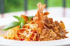 Spaghetti with Almond Shrimp cuisine royalty free stock photos