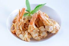 Spaghetti with Almond Shrimp meal cuisine stock image