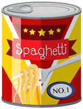 Spaghetti in aluminum can Royalty Free Stock Photo