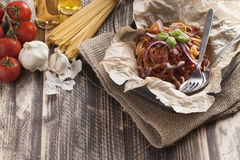 Spaghetti amatriciana italian basic food Royalty Free Stock Images