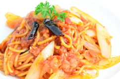 Spaghetti Arrabiata. Spaghetti with spicy tomato sauce Royalty Free Stock Photo