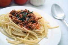 Spaghetti avec de la sauce à viande Photos libres de droits
