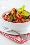 Spaghetti avec des aubergines Photographie stock