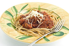 Spaghetti avec des boulettes de viande images stock