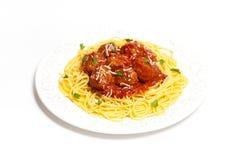 Spaghetti avec des boulettes de viande Photographie stock libre de droits
