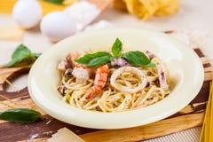 Spaghetti avec des fruits de mer Images libres de droits