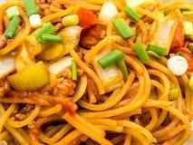 Spaghetti avec la fin de sauce tomate  image stock