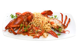 Spaghetti avec la langoustine Photographie stock