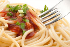 Spaghetti avec la sauce tomate Photo stock