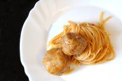 Spaghetti avec la sauce tomate et les boulettes de viande Photos libres de droits