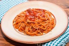 Spaghetti avec la tomate Image stock