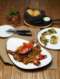 Spaghetti avec le crabe Photographie stock libre de droits