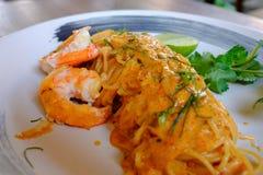 Spaghetti avec Tom Yum Kung image libre de droits