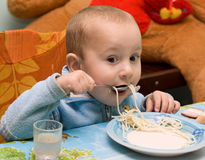 Spaghetti Baby Stock Photo