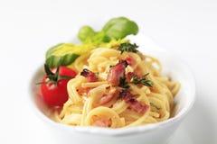 Spaghetti with bacon Stock Photo