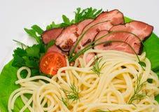 Spaghetti with bacon Royalty Free Stock Photos