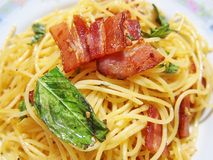 Spaghetti bacon. Spaghetti bacon with basil and olive oil Stock Images