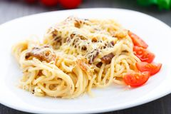 Spaghetti with bacon and cheese Royalty Free Stock Photo