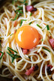 Spaghetti with bacon and egg Royalty Free Stock Image