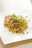 Spaghetti bacon garlic Royalty Free Stock Photography