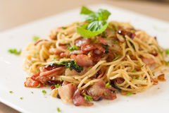 Spaghetti bacon garlic Royalty Free Stock Photo