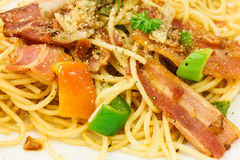 Spaghetti with bacon Stock Image