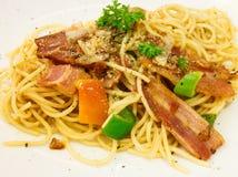 Spaghetti with bacon Stock Photos