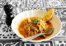 Spaghetti bacon tomato sauce Royalty Free Stock Photos