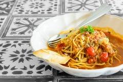 Spaghetti bacon tomato sauce Stock Photos